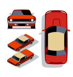 flat-style cars in different views red vector image vector image