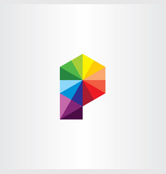 geometric letter p logo colorful icon sign vector image