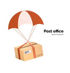 post office airmail delivery service packege with vector image