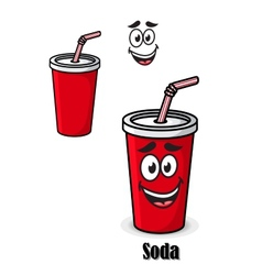 Soda drink in a red takeaway cup with straw vector image vector image