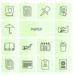 14 paper icons vector image