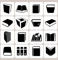 16 book icons set vector image