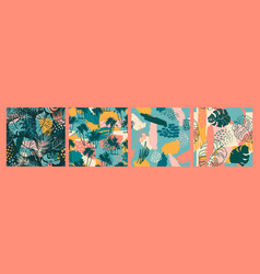 abstract creative seamless patterns with tropical vector image