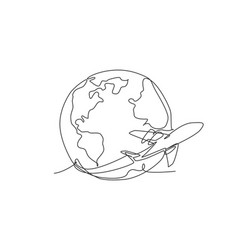 Airplane flying around earth single vector