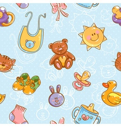 Baby toys cartoon set seamless pattern vector