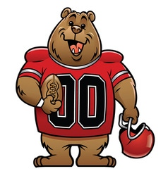 Bear cartoon football mascot vector