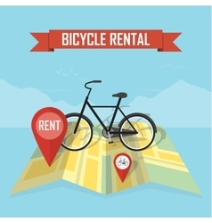 Bike rental map background vector