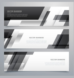 Black business banners design in geometric style vector