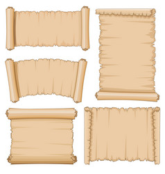 Blank cartoon old scrolls of papyrus paper vector