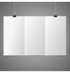 blank folded leaflet white paper template vector image