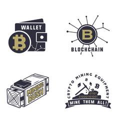 blockchain bitcoin crypto currencies emblems vector image
