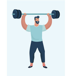 body builder lifting giant dumbbell with one hand vector image
