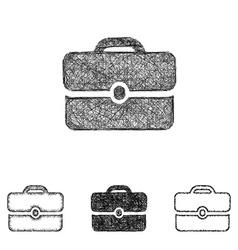 Briefcase icon set - sketch line art vector