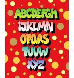 Bright cartoon comic graffiti font alphabet vector image