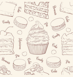 cakes and cookies seamless pattern in outline vector image