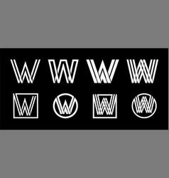 capital letter w modern set for monograms logos vector image