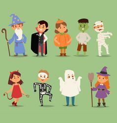 Cartoon cute kids wearing halloween costumes vector
