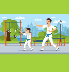 cartoon father in kimono on playground teaches son vector image