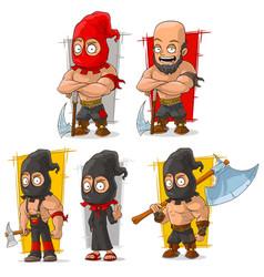 Cartoon slayer with big axe character set vector