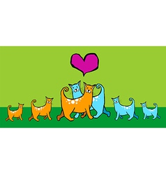 Cats with offspring vector image