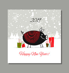 Christmas card santa pig in forest symbol of vector