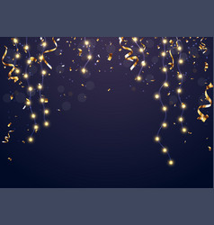 christmas light banner with gold confetti vector image