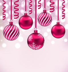Christmas shimmering background with balls vector