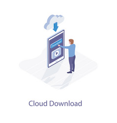 Cloud downloading technology vector