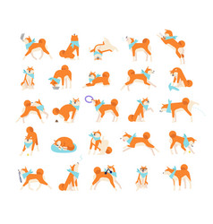 Collection of dog performing everyday activities vector