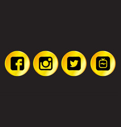Collection of golden popular social media logos vector