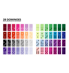 colored domino full set in flat design style vector image