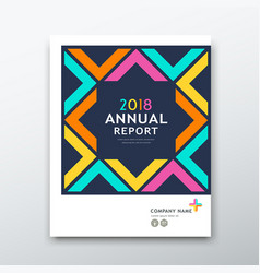 cover annual report colorful triangle pattern vector image