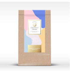 Craft paper bag with coconut chocolate label vector