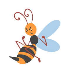 Cute angry bee funny flying insect character vector