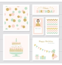 Cute cards with gold confetti glitter for girls vector