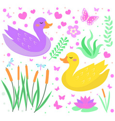 cute duck set objects collection design elements vector image