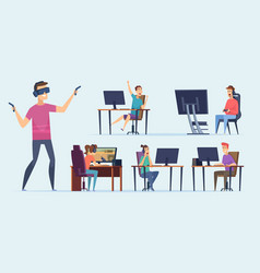 cybersport characters video gaming team players vector image