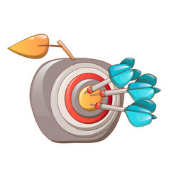 darts hit the apple icon cartoon style vector image