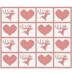 deer and heart set vector image