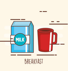 delicious coffee drink with milk box vector image