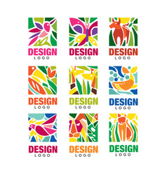 design lodo set labels with plants birds and vector image