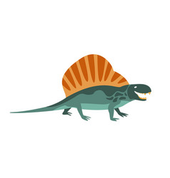 Dimetrodon green dinosaur of jurassic period vector