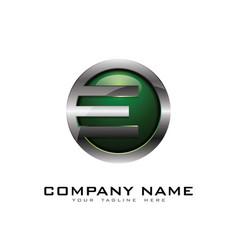 E 3d circle chrome letter logo icon design vector