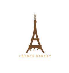 Eiffel tower with bread and spike design template vector