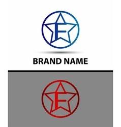 Elegant alphabet star element Letter f vector