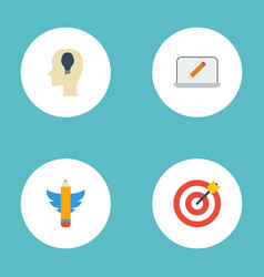 flat icons arrow screen idea and other vector image
