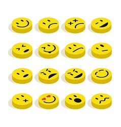Flat isometric Emoticons set vector image