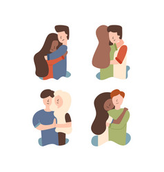 flat set of a young married couple hugging vector image