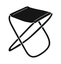 Folding stool icon in black style isolated on vector image
