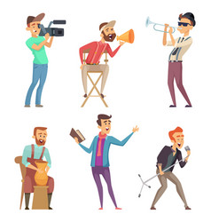 funny creative characters isolate on white vector image